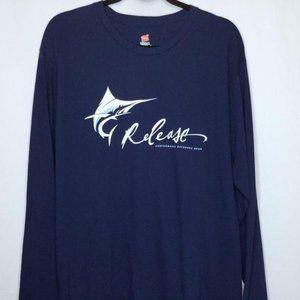 Release Fishing Mens Blue T Shirt Blue Size XL